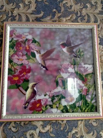 Картина бисер колибри ручной работы.