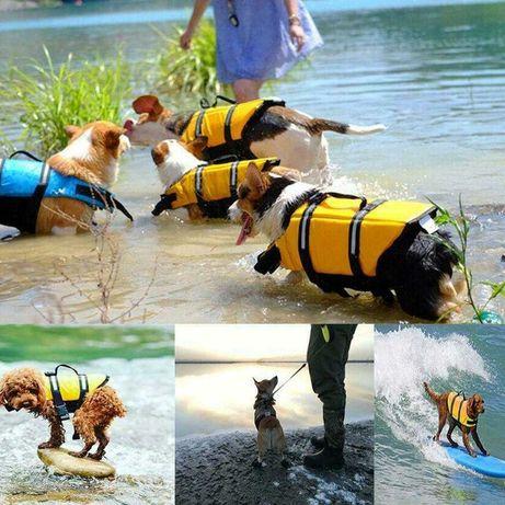 Colete ajustável, refletor, salva vidas para cães - XS - Amarelo