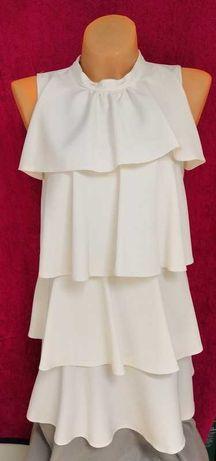 Nowa biała sexowka sukienka mini KOKO 36 S falbanki nowa 250zl