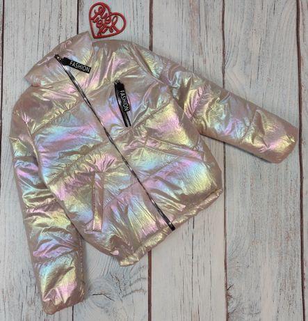 Детская демисезонная куртка для девочки 6-12 лет хамелеон
