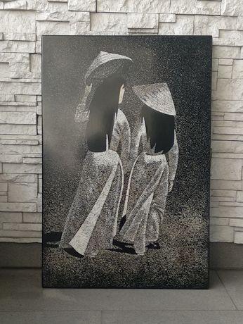 Piękny obraz Wietnam - kobiety , czarny z laki