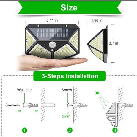 Projector 180leds com sensor e painel solar