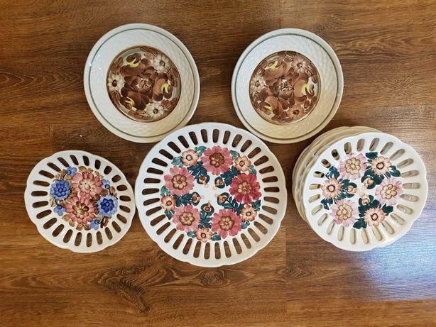 Talerzyki deserowe ręcznie malowane - komplet.