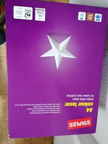 5 resmas papel Staples 90 gr A4 Color Laser 500 folhas (seladas)
