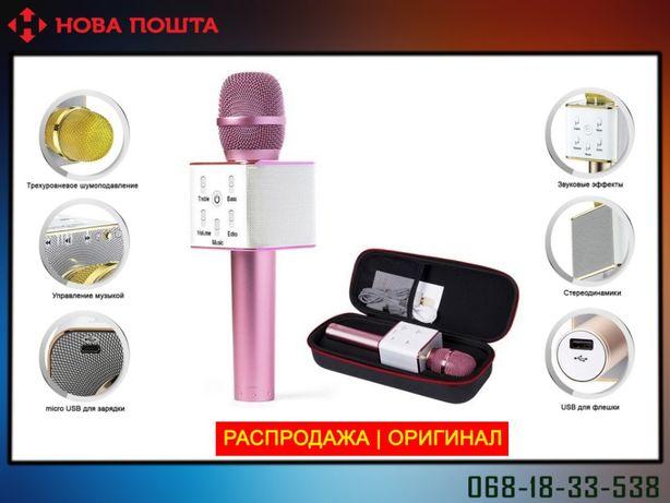 Беспроводной микрофон караоке Tuxun bluetooth розовый Q7 в чехле
