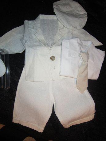 Płócienny garniturek dla chłopca roz 62