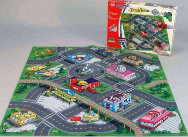 Игровой большой детский коврик - город с дорогами для игры в детскую