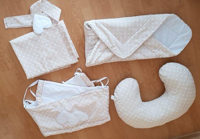 Komplet dla noworodka rożek, rogal, osłonki łóżeczka,  zasłony +gratis