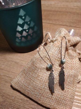 Kolczyki wiszące piórka, handmade