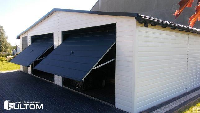 Garaż blaszany dwuspadowy 9x7m blacha trapezowa w kolorze PRODUCENT
