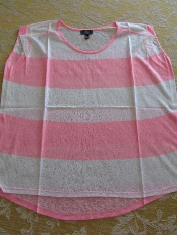 T-shirt Mango às riscas rosa e branco
