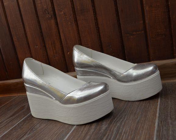 Босоножки туфли на платформе танкетке натуральная кожа туфли valery