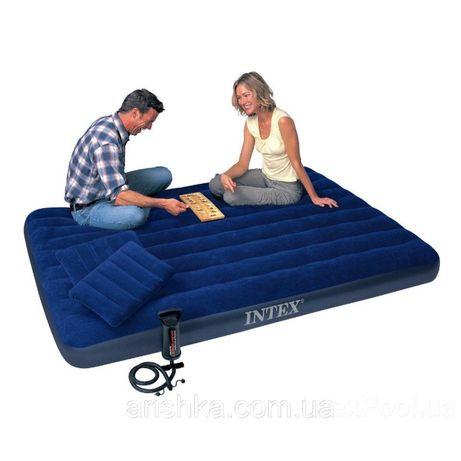 Надувной двуспальный матрас Intex 68765 с двумя подушками, насосом