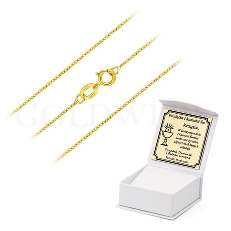 GRAWER Złoty 585 Łańcuszek 50 cm PANCERKA na Chrzest Komunię 50cm