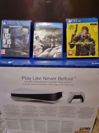 PlayStation 5 nowa z napędem+3 gry GHOST OF TSUSHIMA+CYBERPUNK+TLOU II