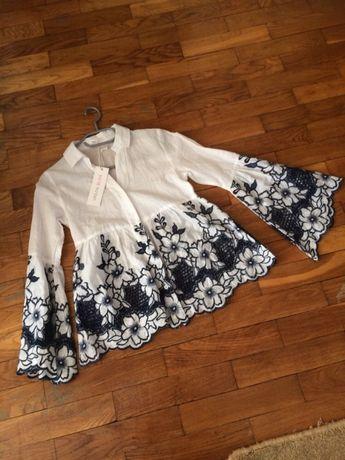 Batystowa bluzeczka koszula Haft richelieu r 36