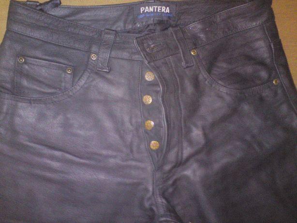 Spodnie skorzane Pantera motor czarne matowe grube
