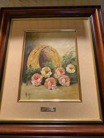 Quadro de flores, pintado à mão