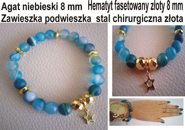 Bransoletka niebieski agat-złoty hematyt 8mm stal chirurgiczna pozłaca
