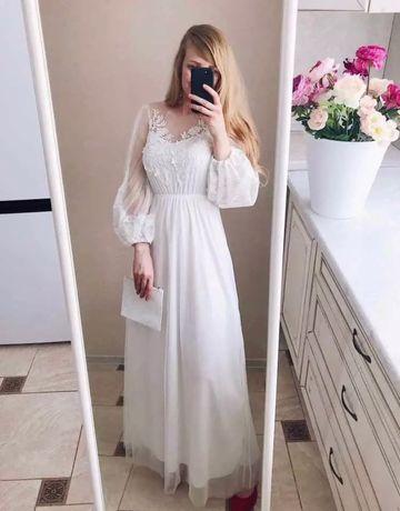 Свадеьное платье в стиле бохо, белое, длинное, для фотосессии