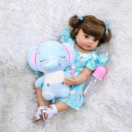 Большая реалистичная Кукла Реборн Bebe, силикон ВСЕГО ТЕЛА, 55 см