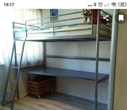 Łóżko piętrowe z biurkiem Ikea