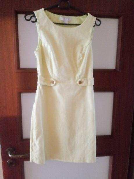 Piękna elegancka cytrynowa sukienka S