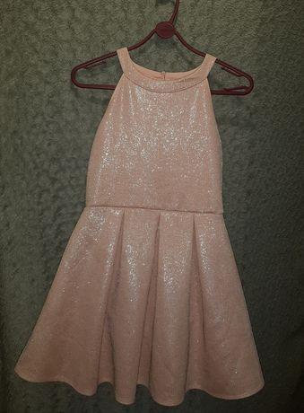 Платье блестящее розовое,пудровое S ,11 лет