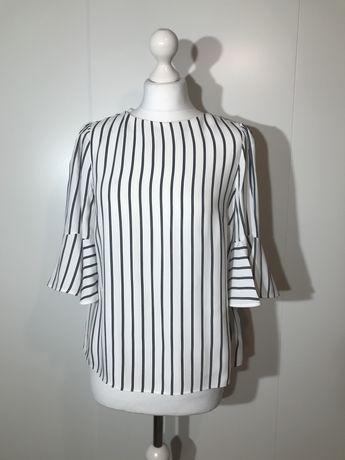 Bluzka MASSIMO DUTTI S 36 biała paski