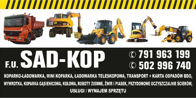 usługi KOPARKA cat ładowarka FUNDAMETY 4-oska JCB WYWROTKA WYBURZenia