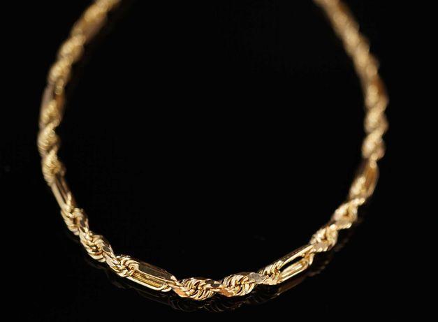Złoto 585-złoty łańcuszek damski kordel diamentowany