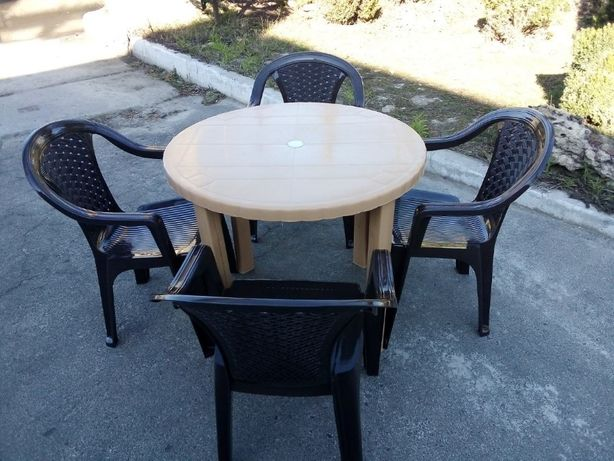 """Комплект """"Верона"""" стол пластиковый + 4 стула, садовая мебель"""