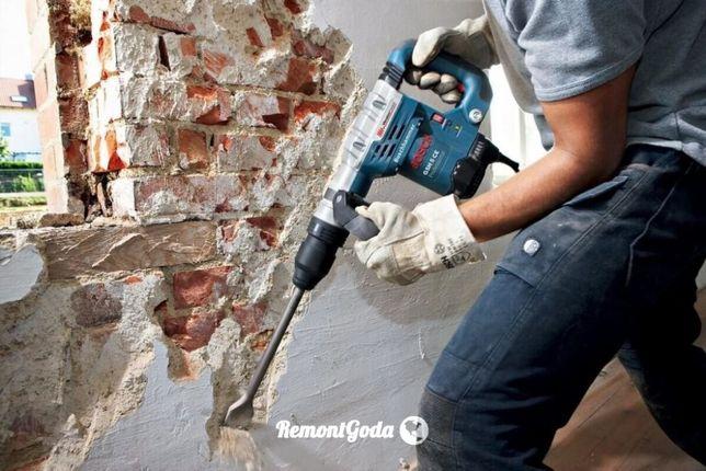 Демонтаж штукатурки, стяжки, цегли, бетону,металу, Свердління отворів
