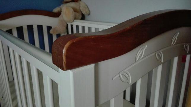 Łóżeczko drewniane 120x60 Klupś materac fiki miki nakładka higieniczna
