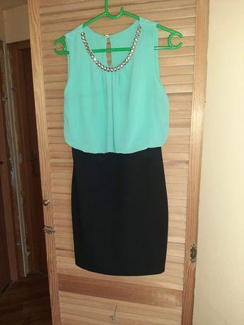 Sukienka miętowo-czarna