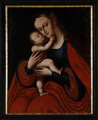 Escola Italiana. Século XVIII. Virgem e o Menino. Óleo sobre lenço