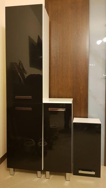 Meble łazienkowe szafki komplet czarny lakier biały