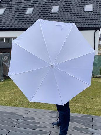 Duży biały parasol ślubny średnica 130 cm