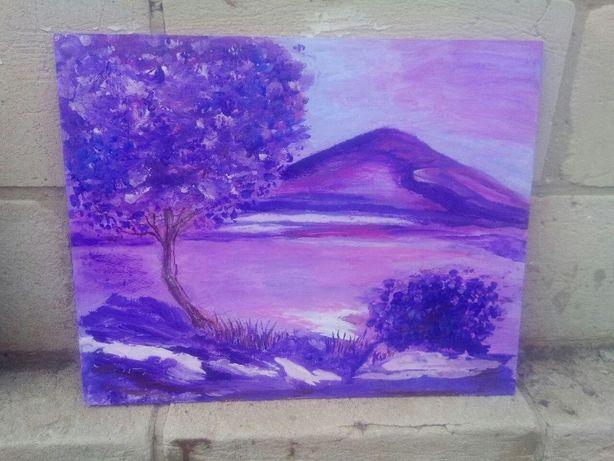 """Продам картину акрил """"Сиреневый пейзаж"""" 24х30см"""