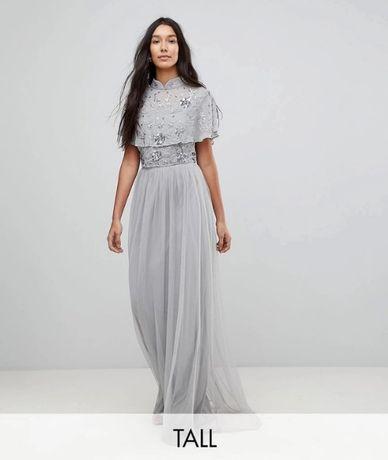 długa sukienka tiulowa z cekinami maxi 44 wesele studniówka karnawał