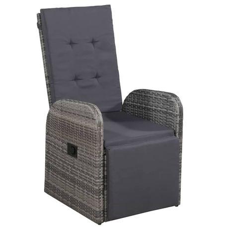 vidaXL Cadeira de jardim reclinável com almofadão vime PE cinzento 47677