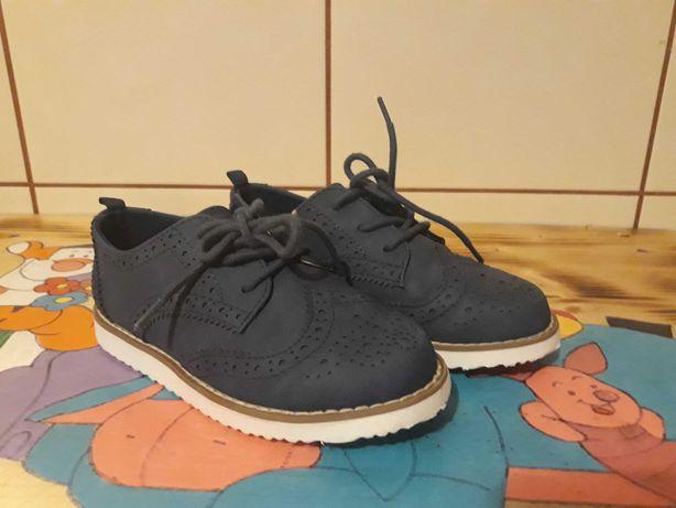 Nowe buty eleganckie hm granatowe 26 brogsy wyjściowe półbuty galowe