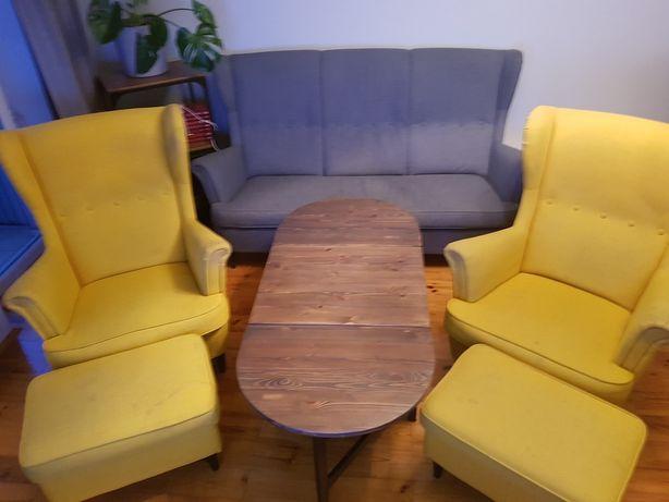 Komplet Ikea sofa, fotele uszaki, podnóżki STRANDMON plus stolik