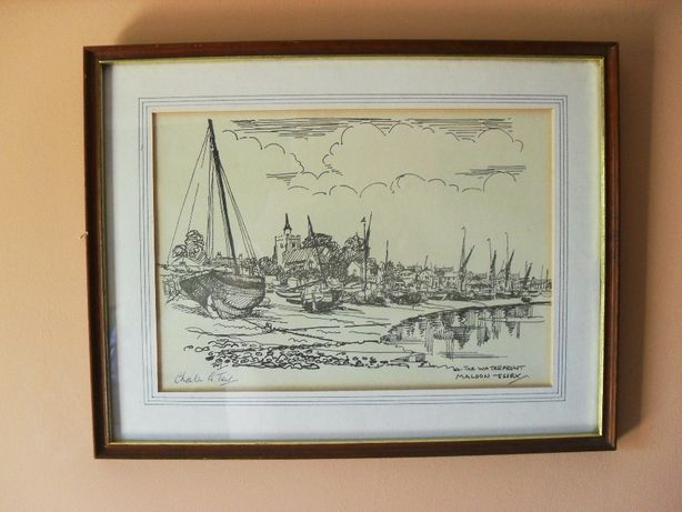 "Obraz ,,The Waterfront Maldon Essex"" Charles Tait ORYGINAŁ"