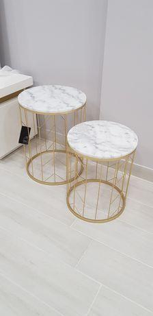 Mesas de Metal Dourado com Mármore - Set 2 By Arcoazul