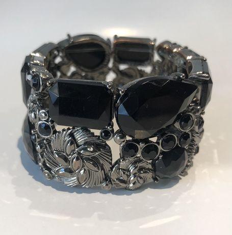 Bransoletka czarno srebrna elegancka