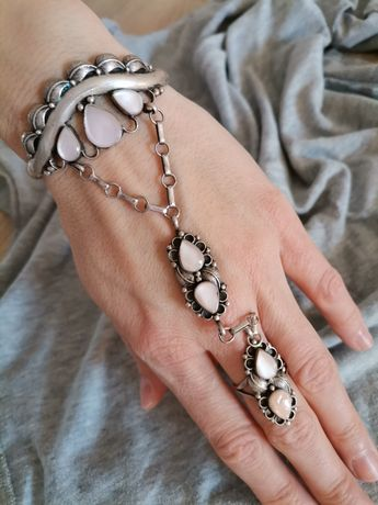 Navajo stara srebrna bransoleta pierścionek łączona niewolnica srebro