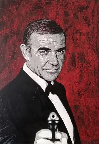 Sean Connery James Bond pintura original em tela