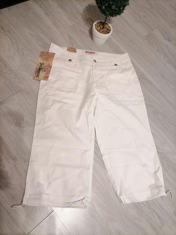 Białe spodnie rybaczki 75% bawełna XXL