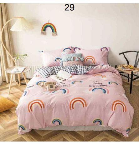 Детское постельное белье розовое радуга
